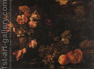 Tulips, narcissi, marigolds and other flowers in an urn by (after) Abraham Bruegel - Reproduction Oil Painting