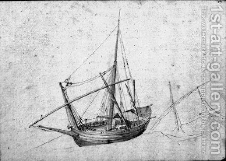 A moored ketch by (after) Abraham Casembroot - Reproduction Oil Painting