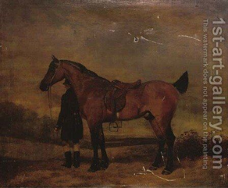 Portrait of a hunter and groom, in an extensive landscape by (after) Cooper, Abraham - Reproduction Oil Painting