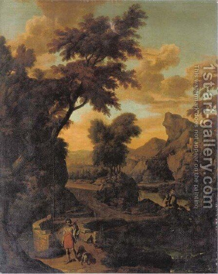 A wooded river landscape with a hunter in classical dress crossing a bridge, mountains beyond by (after) Abraham Genoels - Reproduction Oil Painting