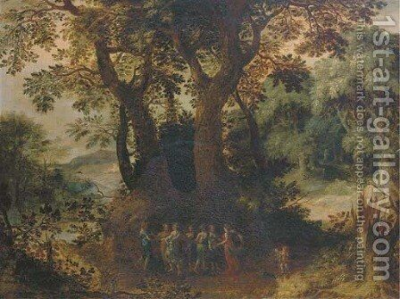 A wooded landscape with dancing nymphs by (after) Abraham Govaerts - Reproduction Oil Painting