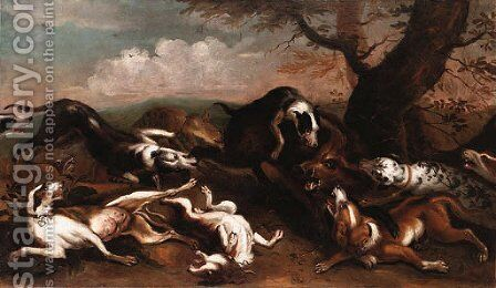 A Boar Hunt by (after) Abraham Hondius - Reproduction Oil Painting