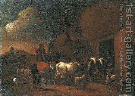 Shepherds returning to the stable with their cattle at dusk by (after) Abraham Jansz. Begeyn - Reproduction Oil Painting