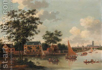 View of the River Rotte by (after) Abraham Jansz. Storck - Reproduction Oil Painting
