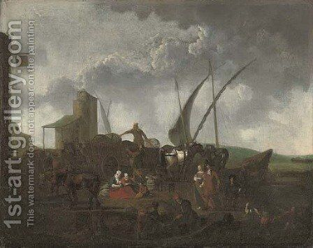 A Mediterranean harbour with stevedores unloading and elegant company by (after) Abraham Storck - Reproduction Oil Painting