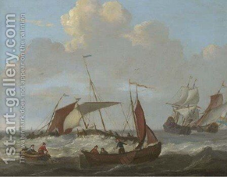 Dutch shipping in choppy seas by (after) Abraham Storck - Reproduction Oil Painting