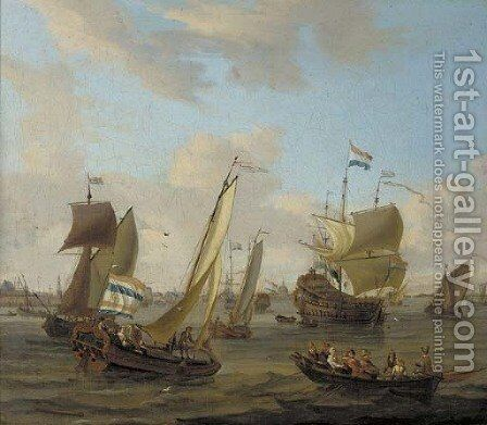 Shipping on the IJ off Amsterdam with a smalschip, a Dutch man-o'-war, and other vessels by (after) Abraham Storck - Reproduction Oil Painting