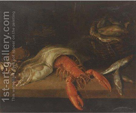 A lobster, a basket of fish, a crab, a cod and other fish on a ledge by (after) Abraham Hendrickz Van Beyeren - Reproduction Oil Painting
