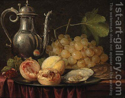 A silver ewer, a bunch of grapes with peaches and oysters on a pewter plate by (after) Abraham Hendrickz Van Beyeren - Reproduction Oil Painting