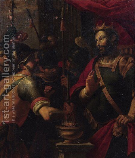 Mucius Scaevola showing his intrepidity before King Porsena by (after) Adam Van Noort - Reproduction Oil Painting