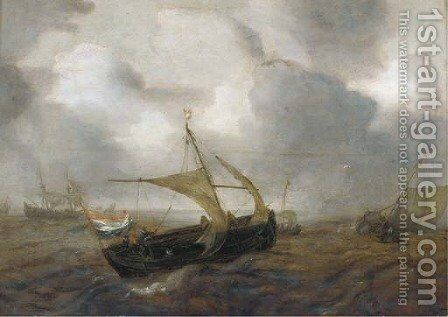Shipping in choppy waters by (after) Adam Willaerts - Reproduction Oil Painting