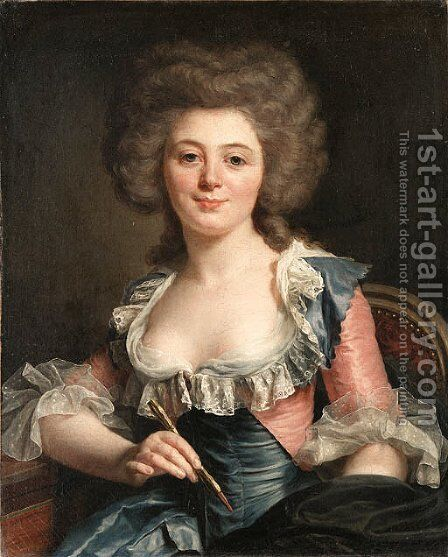 .Portrait of an Artist by (after) Adlaide Labille-Guiard - Reproduction Oil Painting