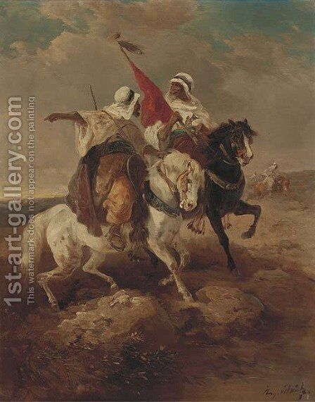 Arab warriors in a desert by (after) Adolf Schreyer - Reproduction Oil Painting