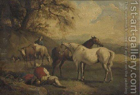 Drovers watering livestock by (after) Adolf Schreyer - Reproduction Oil Painting