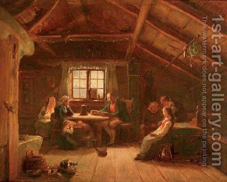 Reading from the story book by (after) Adolphe Tidemand - Reproduction Oil Painting
