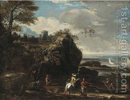 A Mediterranean coastal inlet with fishermen and boating, a hilltop town beyond by (after) Adriaan Van Der Cabel - Reproduction Oil Painting