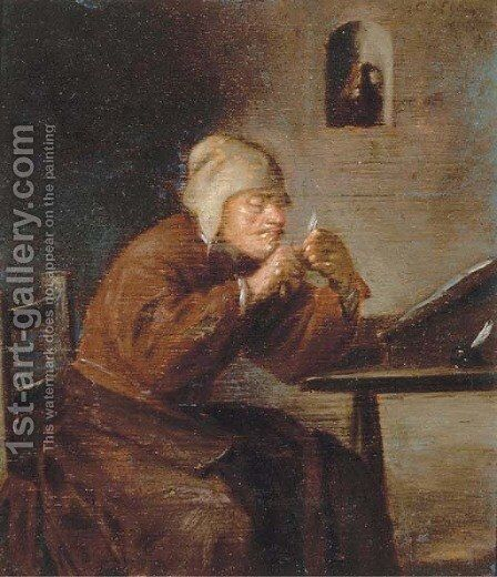 A man seated at his desk sharpening his pen by (after) Adriaen Brouwer - Reproduction Oil Painting