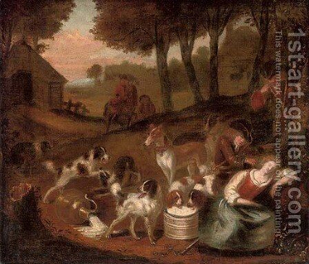 A hunting party stopped by a sleeping milkmaid by (after) Adriaen Cornelisz. Beeldemaker - Reproduction Oil Painting