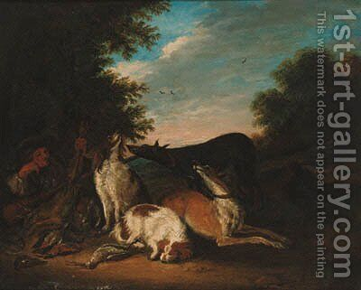 A huntsman and hounds with game resting in a landscape by (after) Adriaen De Gryeff - Reproduction Oil Painting
