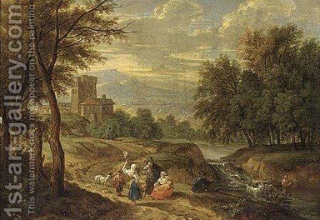 A mountain landscape with travellers on a path and a shepherd crossing a ford by (after) Adriaen Frans Boudewijns - Reproduction Oil Painting