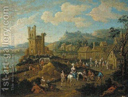 A river landscape with travellers passing through a village by (after) Adriaen Frans Boudewijns - Reproduction Oil Painting