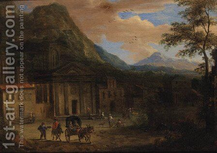 A Horse-drawn Cart ad Peasants before a Church, Mountains beyond by (after) Adriaen Frans Boudewijns - Reproduction Oil Painting