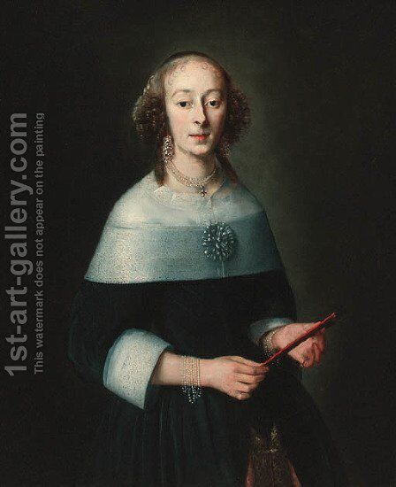 Portrait of a lady by (after) Adriaen Hanneman - Reproduction Oil Painting