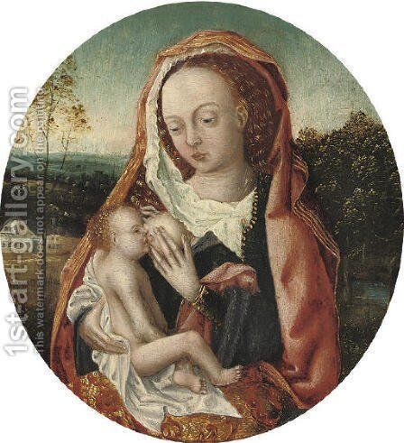 The Virgin and Child in a wooded landscape by (after) Adriaen Isenbrandt (Ysenbrandt) - Reproduction Oil Painting