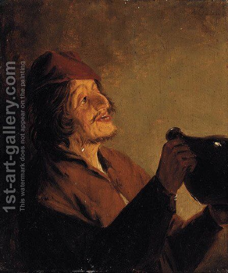 A boor drinking by (after) Adriaen Jansz. Van Ostade - Reproduction Oil Painting