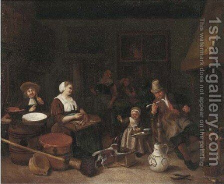 A kitchen interior with a woman cutting fish and a girl playing with a dog by (after) Adriaen Jansz. Van Ostade - Reproduction Oil Painting