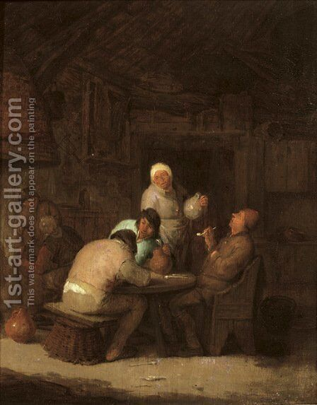 Peasants seated around a table smoking and drinking by (after) Adriaen Jansz. Van Ostade - Reproduction Oil Painting