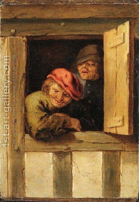 Two peasants at a window by (after) Adriaen Jansz. Van Ostade - Reproduction Oil Painting