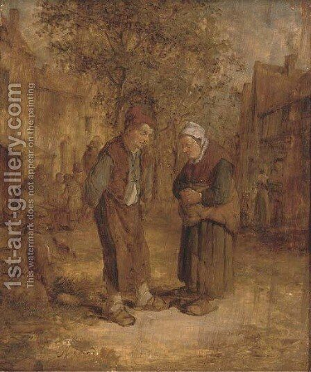 Two peasants conversing in a village street by (after) Adriaen Jansz. Van Ostade - Reproduction Oil Painting