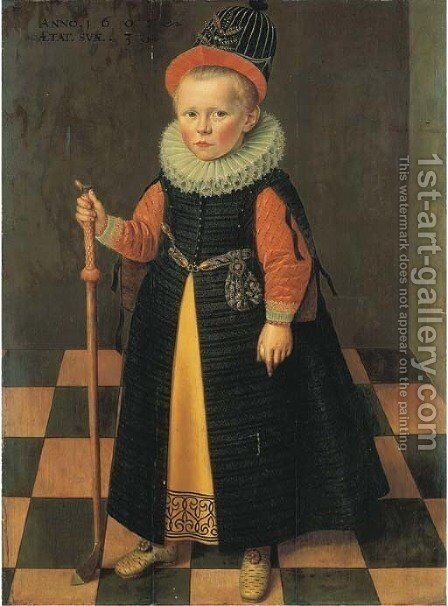 Portrait of a young boy by (after) Adriaen Van De Linde - Reproduction Oil Painting