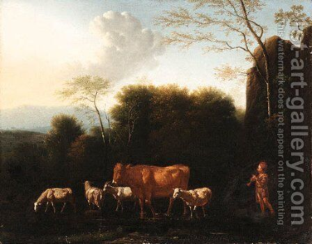 A Shepherd and Livestock fording a Stream by (after) Adriaen Van De Velde - Reproduction Oil Painting
