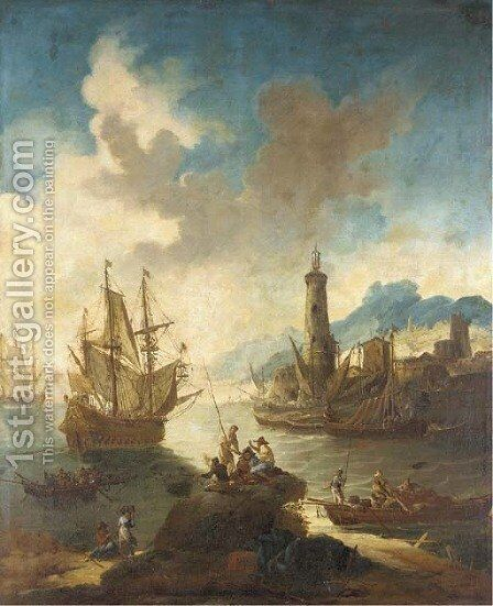 A Mediterranean port with fishermen in the foreground by (after) Adriaen Van Der Cabel - Reproduction Oil Painting