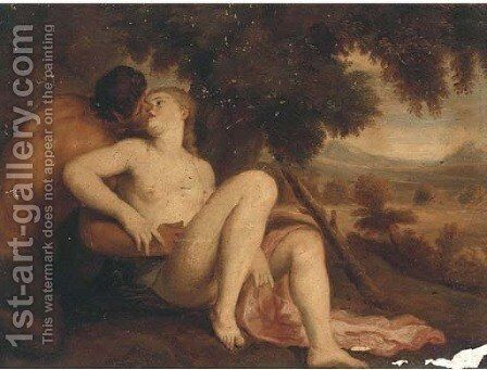 A Nymph and a Satyr in a wooded landscape by (after) Adriaen Van Der Werff - Reproduction Oil Painting