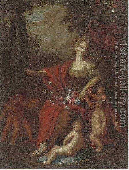 Flora in a landscape with putti by (after) Adriaen Van Der Werff - Reproduction Oil Painting