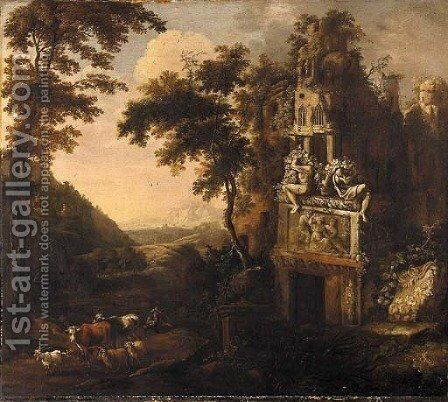 An Italianate landscape with a drover and his herd amongst ruins by (after) Adriaen Van Diest - Reproduction Oil Painting