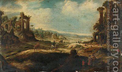 An extensive landscape with travellers by ruins by (after) Adriaen Van Nieulandt - Reproduction Oil Painting