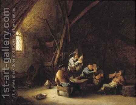A barn interior with merry company and a bagpipe player by (after) Adriaen Jansz. Van Ostade - Reproduction Oil Painting