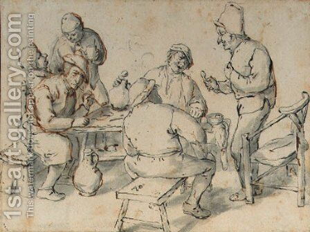 Smokers and drinkers by a table by (after) Adriaen Jansz. Van Ostade - Reproduction Oil Painting