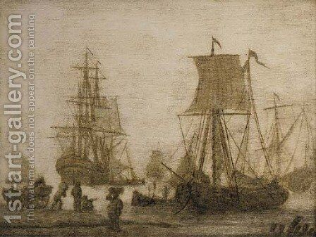 Shipping in a harbour with figures on a shore a penschildrij by (after) Adriaen Van Salm - Reproduction Oil Painting