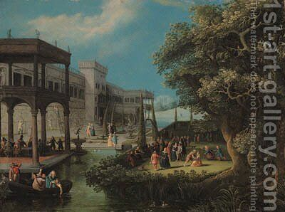 A fte galante in an ornamental garden, beside a palace by (after) Adriaan Van Stalbemt - Reproduction Oil Painting