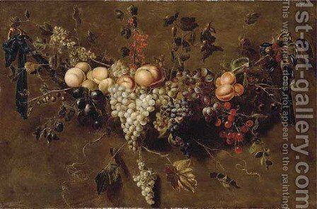 A garland of grapes by (after) Adriaen Van Utrecht - Reproduction Oil Painting