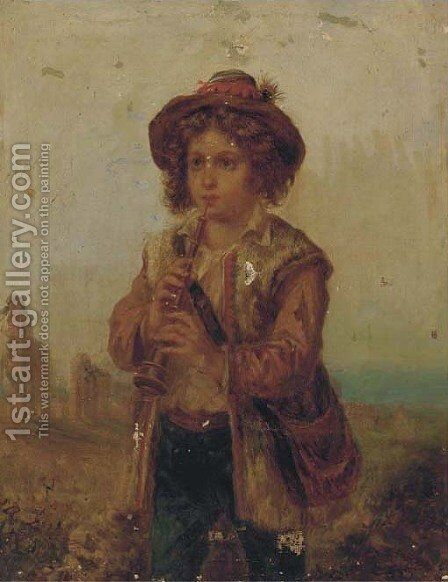 The young musician; and The young weaver by (after) Adriano Bonifazi - Reproduction Oil Painting