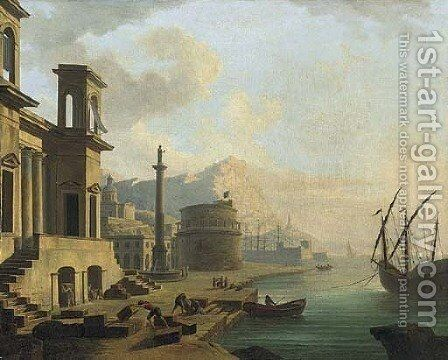 A capriccio of a Mediterranean harbour with stevedore's unloading wine by (after) Adrien Manglard - Reproduction Oil Painting