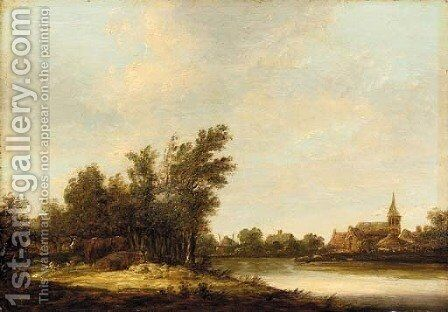 A river landscape with cows on a bank, a view of Dordwyk beyond by (after) Aelbert Cuyp - Reproduction Oil Painting