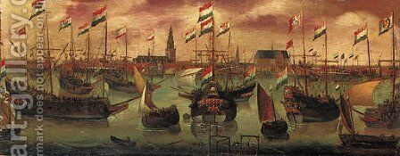 The Dutch Fleet off Amsterdam by (after) Aert Anthonisz - Reproduction Oil Painting