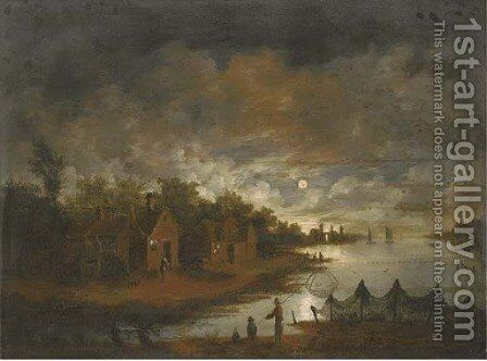 A moonlit river landscape with fishermen by the bank by (after) Aert Van Der Neer - Reproduction Oil Painting